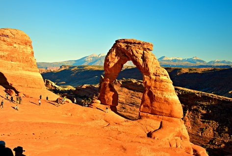 Delicate Arch is as popular as it is prominent on a high outcropping of red rock.