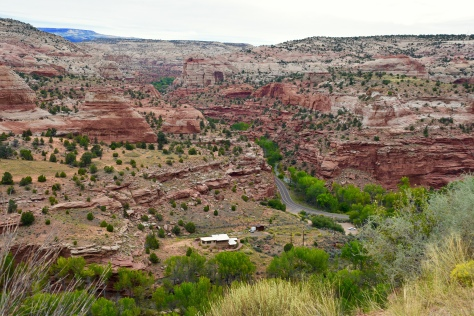 The road drops into the Escalante Canyon and heads north up the other side.