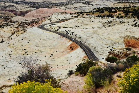 Highway 12 cuts across ancient sandstone benches called slick rock.