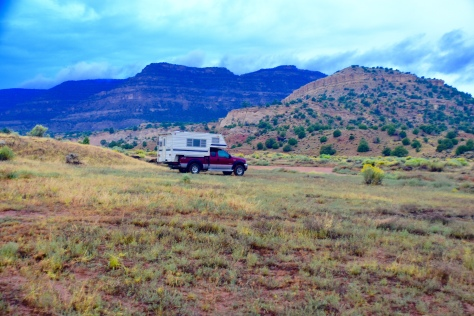 The only other sign of life was the wild horse plops on the hills next to my camper.