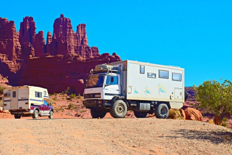 Somebody with the ultimate off-road camper was enjoying the almost-free campsites on BLM land near Fisher Towers 20 miles east of Moab.