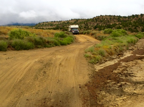 High clearance and four wheel drive are helpful on any of the side tracks from Hole-in-the-Rock Road.