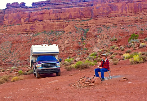I had to drive the pickup onto boulders to level the camper at Valley of the Gods.