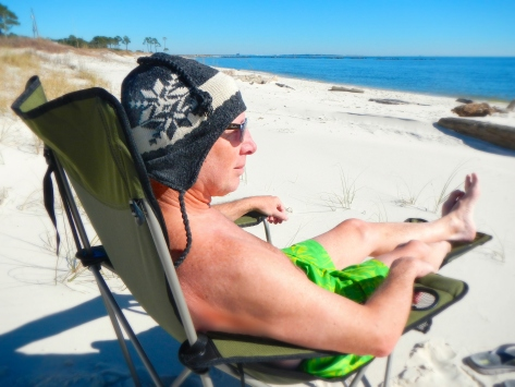 The beaches are white sand along the Gulf at Dauphin Island.
