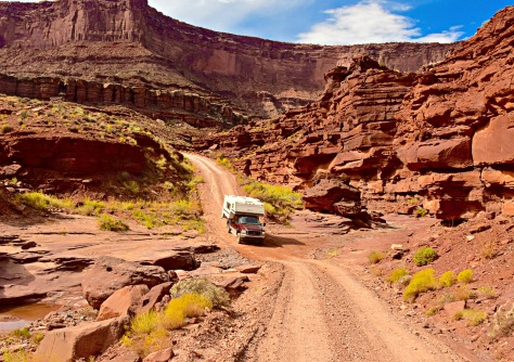 Getting to the White Rim Road required driving through creek beds and crossing dry washes.