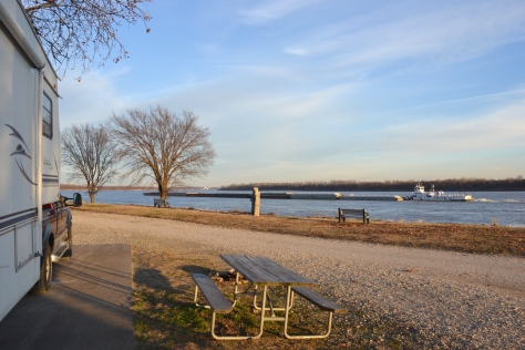 Our campsite at Tom Sawyer campground was right on the shore of the Mississippi River.