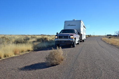 As we rolled along the prairie, the tumbleweed was rolling too.