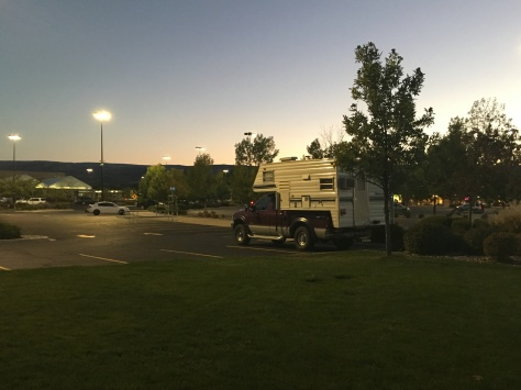 Camping in the parking lot at Walmart, Grand Junction, Colorado.