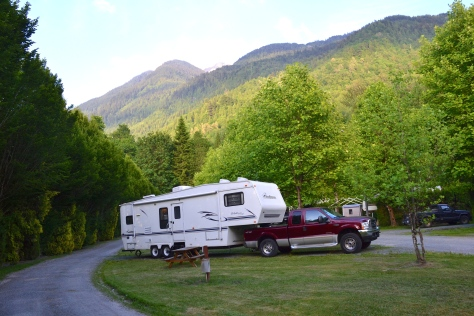 The mountains were forest-covered a Chilliwack, BC.