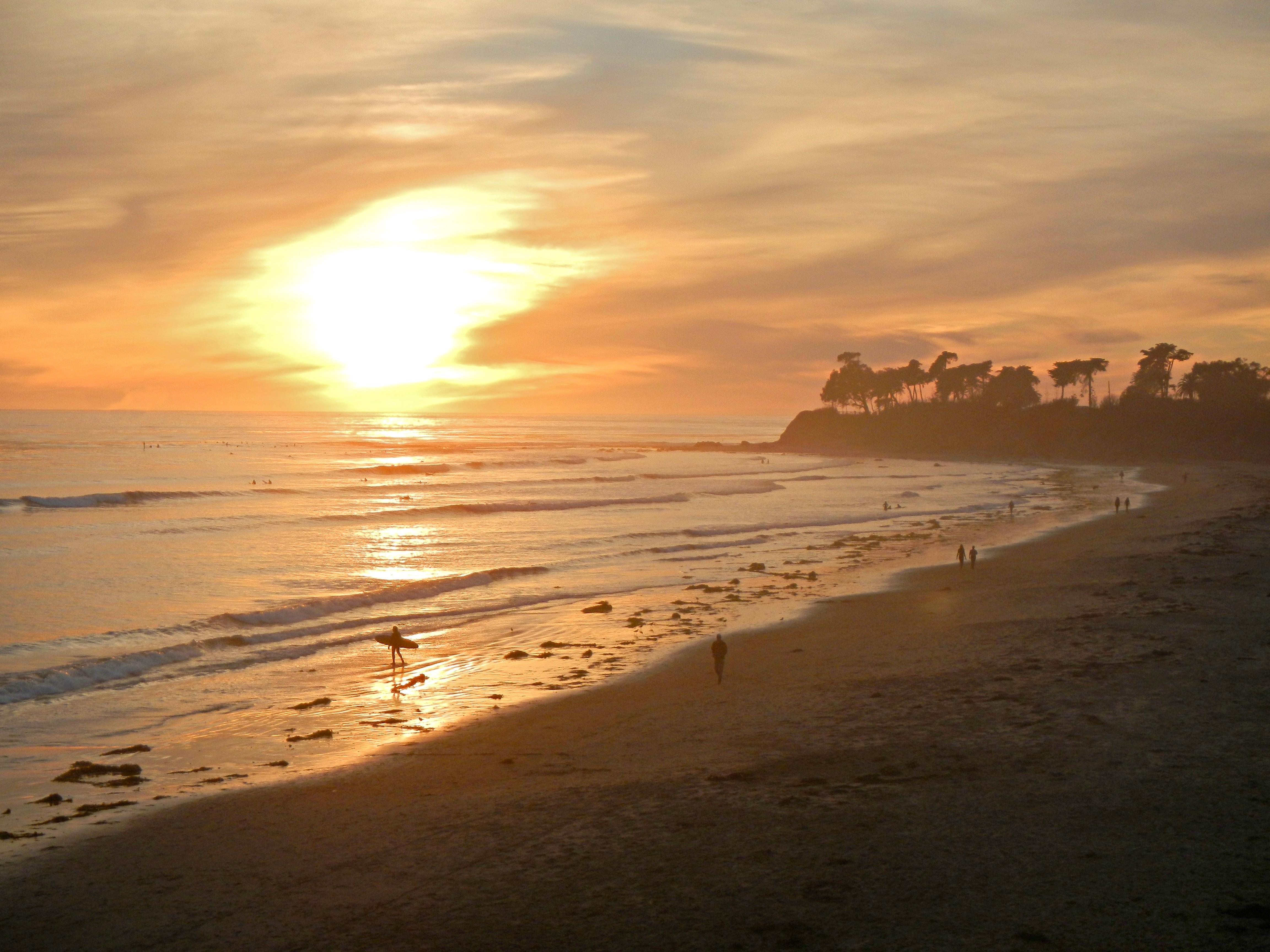 Santa Barb beach at sunset