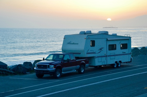 The campground is linear at Seacliff, California, 2 miles long and 20 feet wide.