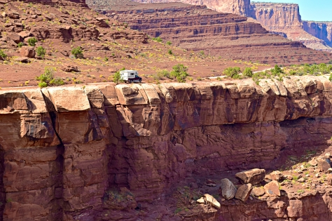 The drop-offs along the White Rim Road command a lot of respect in Canyonlands National Park.